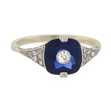 Art Deco Platinum Sapphire & Diamond Ring 0.15ct