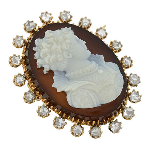 Victorian 18kt Hard Stone Cameo & Diamond Pin