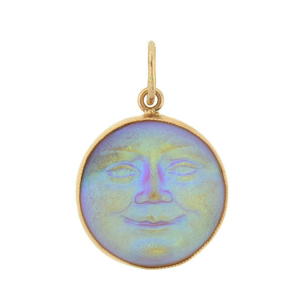"Arts & Crafts 14kt Iridescent Art Glass ""Man in the Moon"" Pendant"