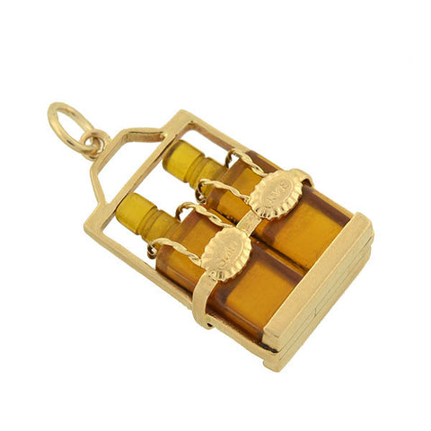 "Retro 14kt ""Scotch & Rye"" Miniature Whiskey Bottles Charm"