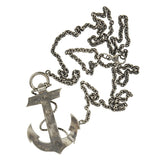 Victorian Sterling & Inlaid Scottish Agate Anchor Necklace