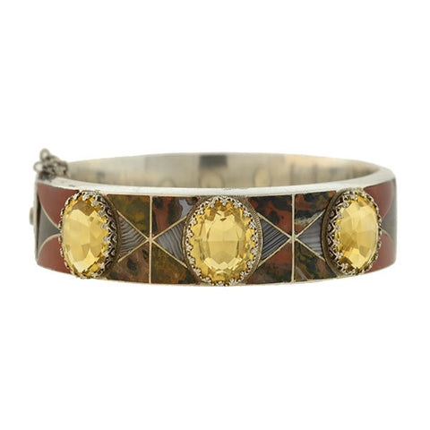 Victorian Sterling Citrine & Inlaid Scottish Agate Bracelet