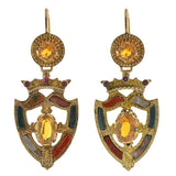 Victorian 15kt Gold Scottish Agate, Citrine & Garnet Earrings