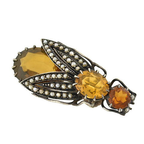 Victorian Sterling Citrine & Seed Pearl Insect Pin
