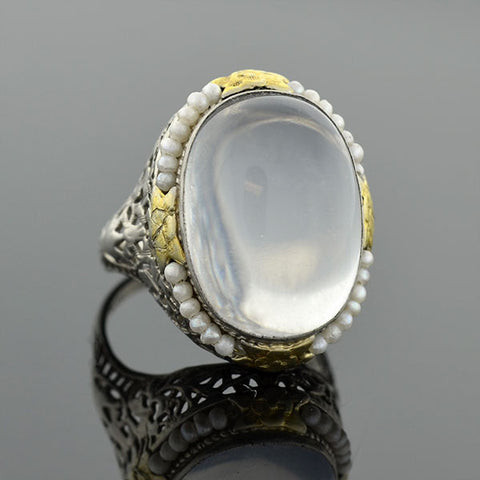 Art Deco 14kt Seed Pearl & Moonstone Filigree Ring