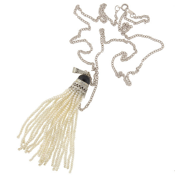 Vintage Art Deco retro style rose and tassel necklace