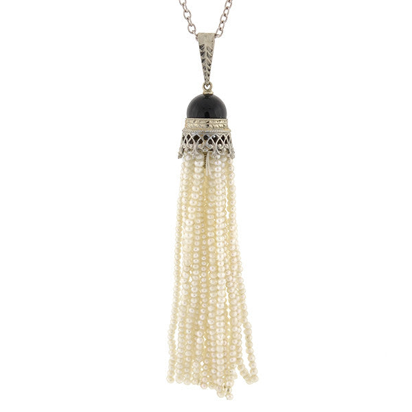 Art Deco 14kt Onyx & Seed Pearl Tassel Necklace