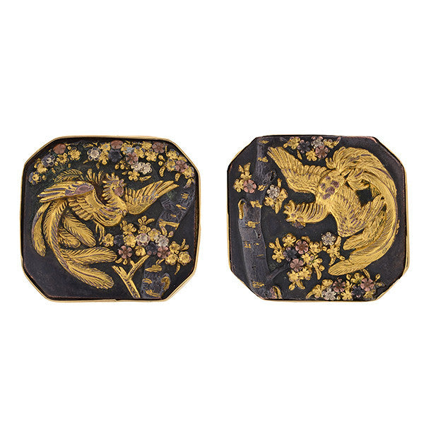 Victorian 14kt Shakudo Plaque Cufflinks with Bird Motif