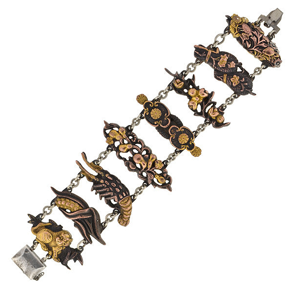 Art Deco Shakudo Sterling & Mixed Metals Multi Link Bracelet