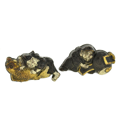 Art Deco Platinum & 14kt Gold Etched Diamond & Sapphire Cufflinks