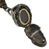 Early Victorian Shakudo Watch Chain & Skull Locket Fob