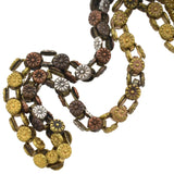 Victorian Mixed Metals Shakudo Watch Chain Choker Necklace 13.75