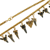 Victorian 9kt Fossilized Shark's Teeth Necklace