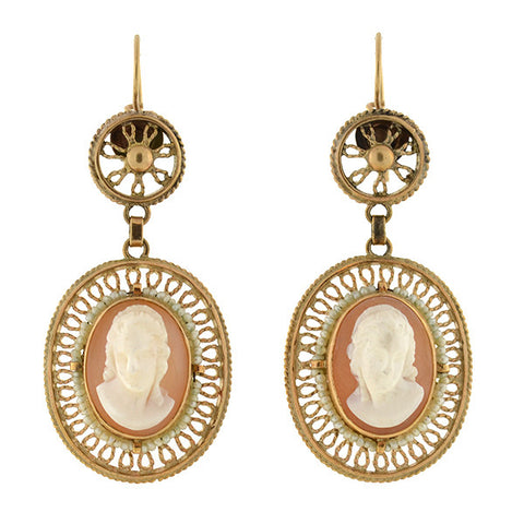 Victorian 14kt Shell Cameo & Seed Pearl Wirework Earrings