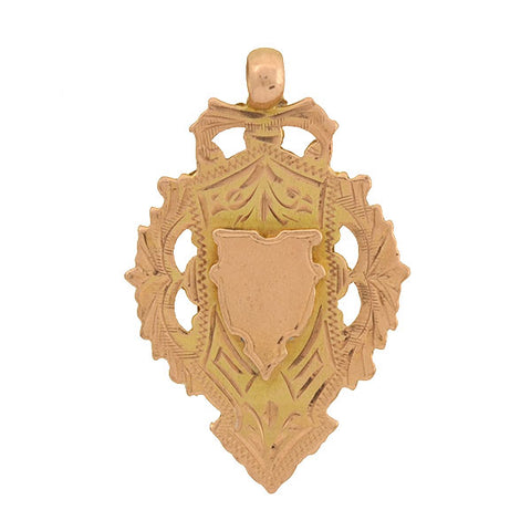 Early Art Deco English 9kt Medallion Pendant