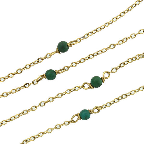 Estate 14kt Petite Turquoise Bead Chain Necklace 15.5""