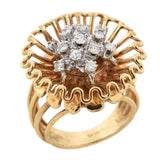 SIDNEY BERMAN & CO. Vintage Large 14kt Diamond Flower Ring 0.35ctw