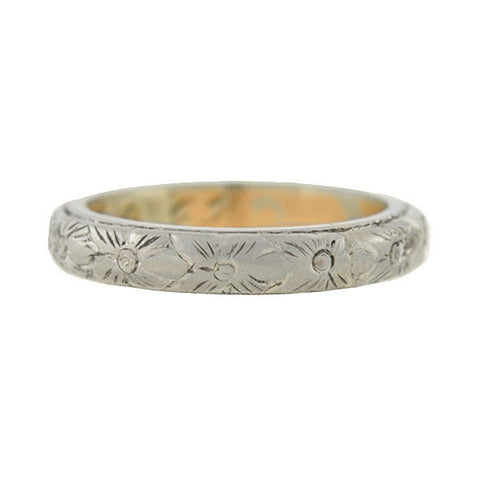 B. BROS Edwardian 18kt Carved Floral Mixed Metals Band