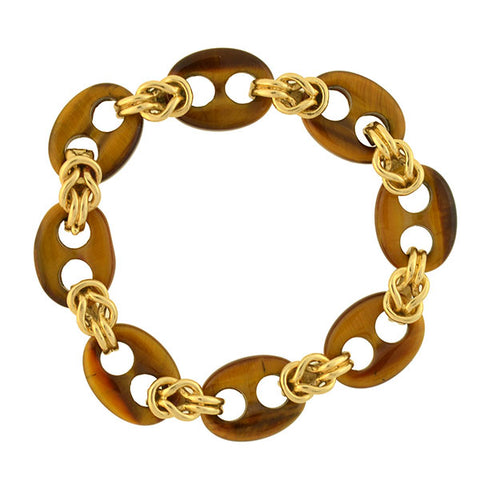 HAMMERMAN BROS. Vintage 14kt Tiger's Eye Anchor Link Bracelet