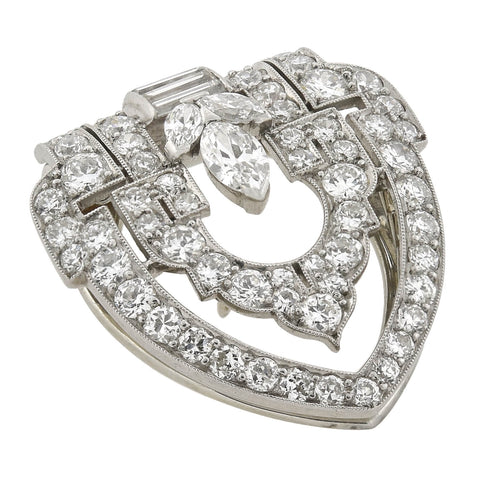 YARD Art Deco Platinum Diamond Encrusted Fur Clip 1.25ctw