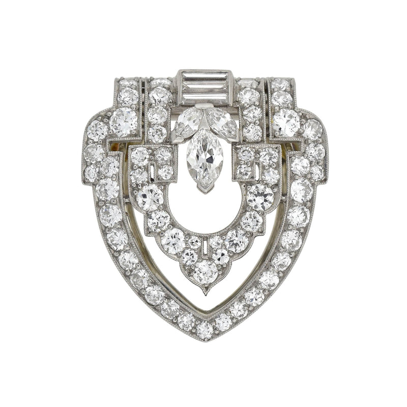 Estate 14kt Pavé Diamond Puffy Heart Pendant Necklace 15""