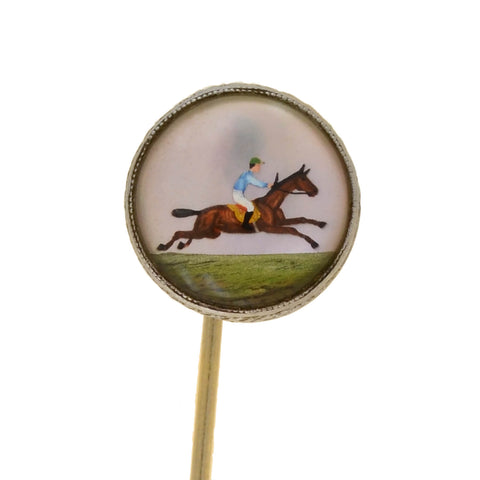 BIRKS Art Deco Platinum/18kt Reverse Carved Crystal Equestrian Stick Pin