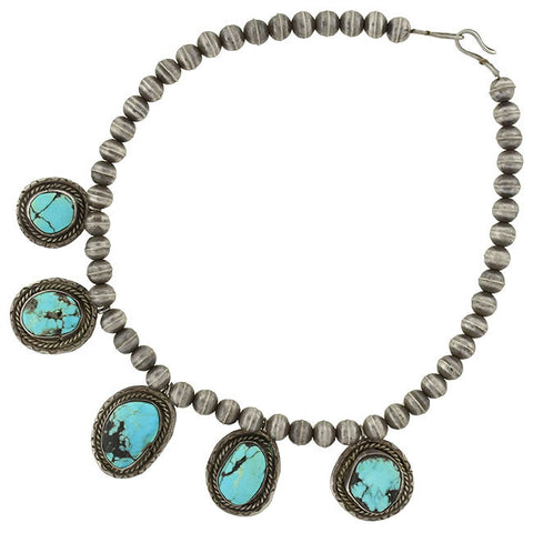 Vintage American Indian Pawn Silver & Turquoise Necklace