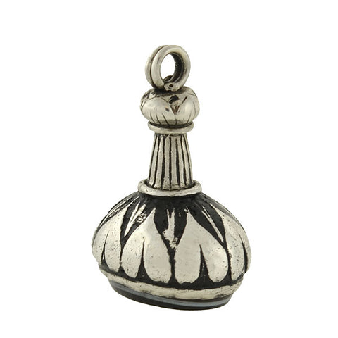 Victorian Sterling & Black Enamel Fob with Banded Agate Seal
