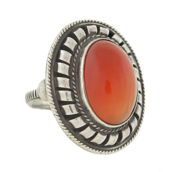 Vintage Silver & Carnelian Cabochon Handmade Ring
