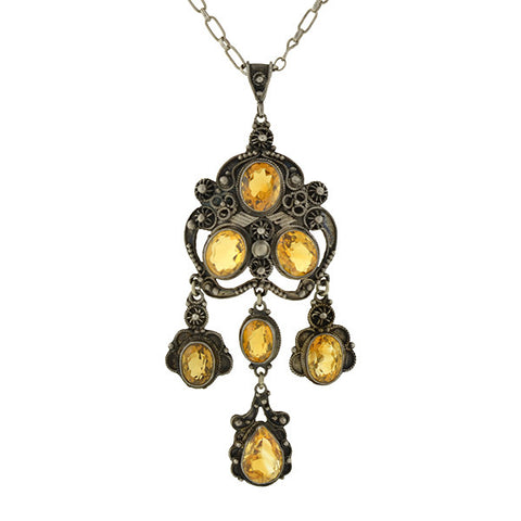 Arts and Crafts Sterling Silver Citrine Filigree Pendant & Chain