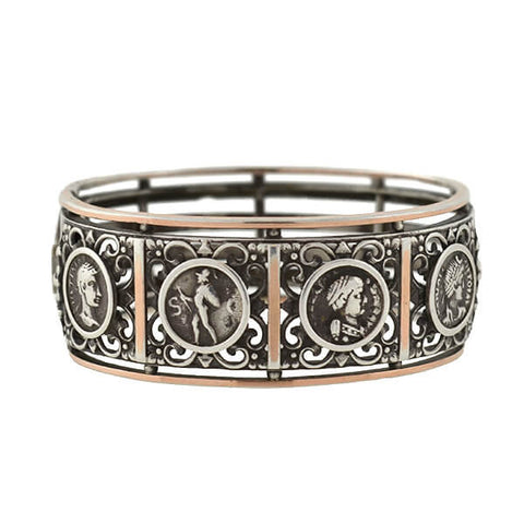 Victorian Sterling & Rose Gold Hinged Coin Bracelet