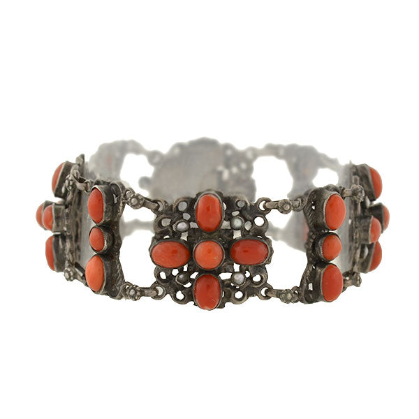 Arts & Crafts Austro-Hungarian Sterling & Oxblood Coral Bracelet
