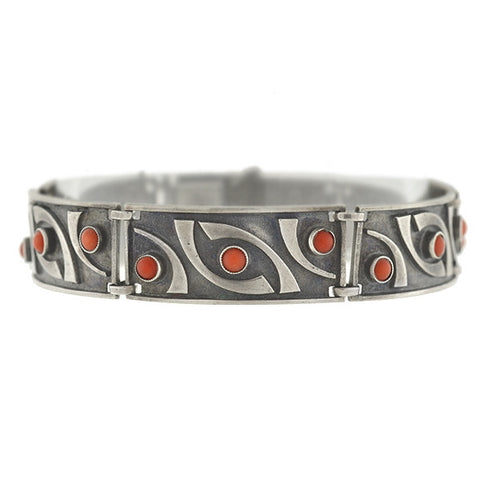 Vintage Signed Black & White Checkerboard Enamel Bracelet