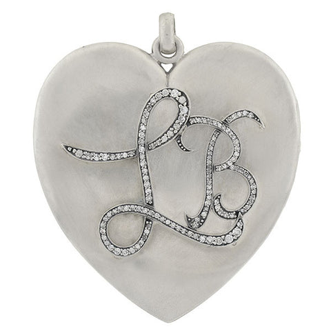 Victorian Large Sterling Heart Locket w/ Diamond Initials