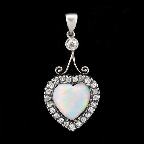 Victorian Sterling-Topped 14kt Opal & Diamond Heart Pendant