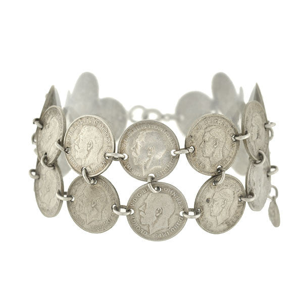 Victorian/Vintage Great Britain Silver Antique Coin Bracelet