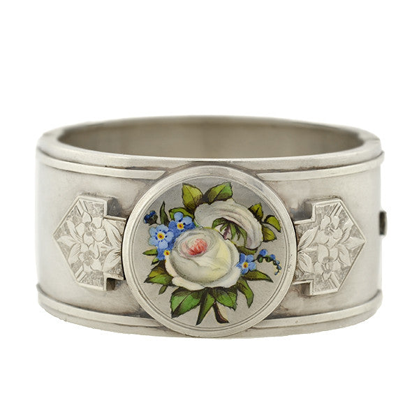 Victorian Sterling Enamel Flower Bangle Bracelet