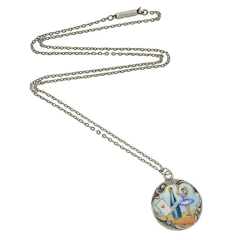"Victorian Silver & Enamel ""High Life"" Pendant and Chain"
