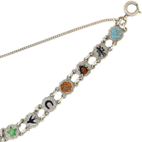 Arts + Crafts Austro-Hungary Silver Enameled Lucky Charm Link Bracelet
