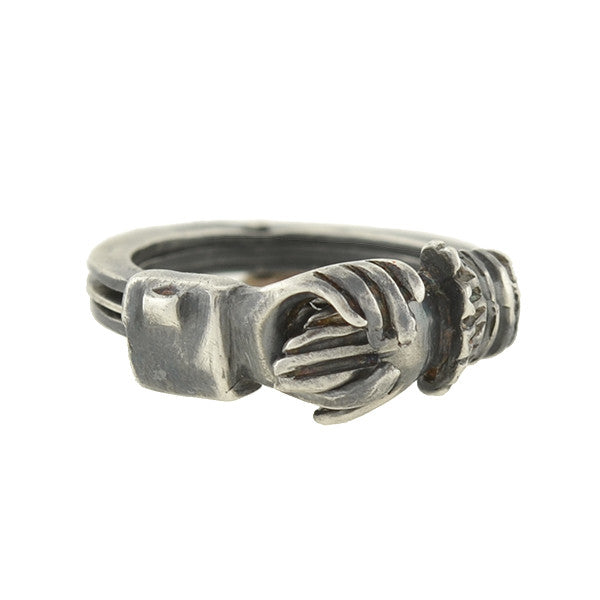 Victorian Sterling Moveable Clasped Hands & Heart Fede Gimmal Ring