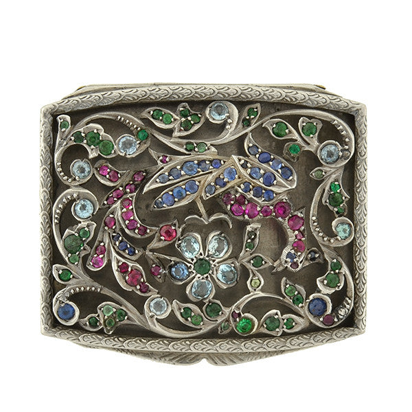 Edwardian Silver & Multi Gemstone Floral Filigree Trinket Box