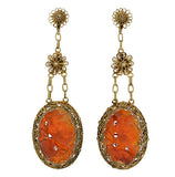 Late Art Deco Silver Gilt Carved Carnelian Earrings