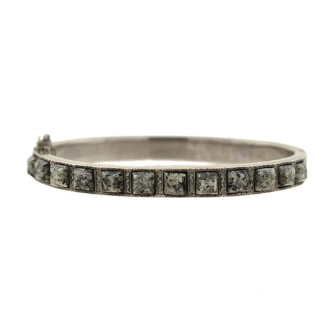Victorian Sterling Silver & Granite Bangle Bracelet