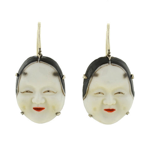 "TOSHIKANE Vintage Japanese Silver & Porcelain ""Noh"" Mask Earrings"