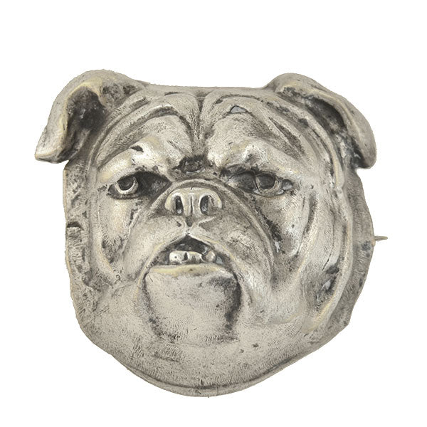Late Victorian Large Silver Plated British Bulldog Head Pin