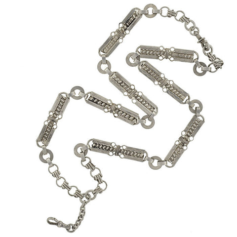 Victorian French 900 Silver Book Chain Necklace 23""