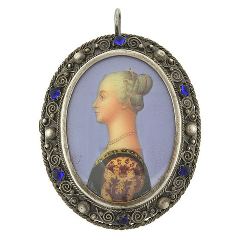 Edwardian Silver & Painted Porcelain Portrait Pin/Pendant