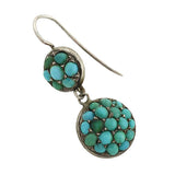 Victorian German Silver & Pavé Turquoise Earrings