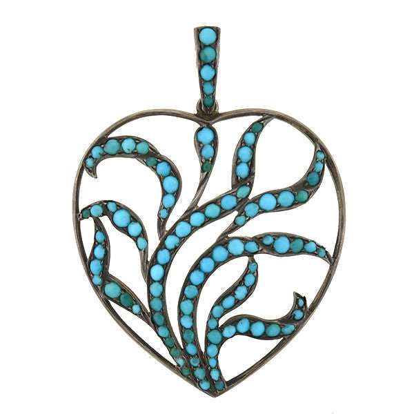 Victorian Silver Persian Turquoise Open Heart Pendant
