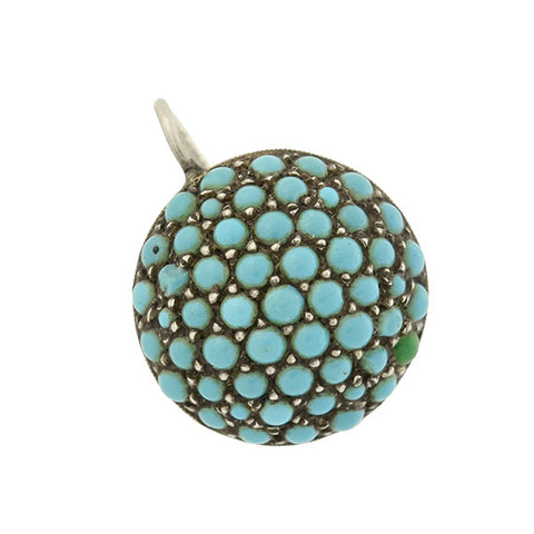 Art Deco Silver & Pavé Turquoise Round Earrings